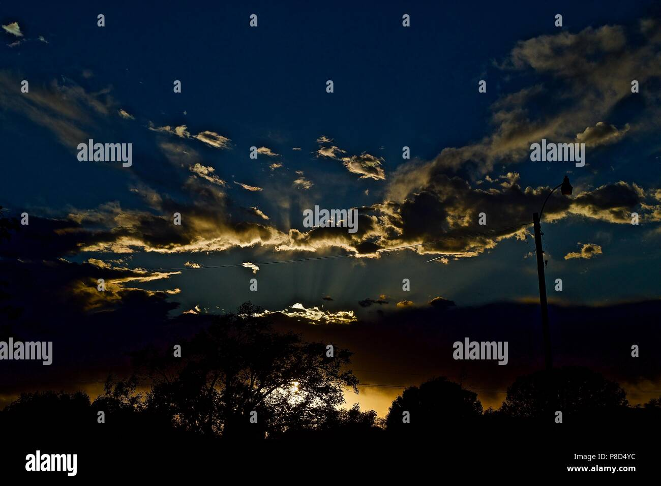 Sunset and Clouds over Canyon, Texas Stock Photo