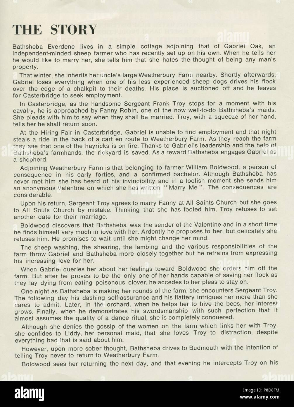 Far from the Madding Crowd (1968) Publicity information,     Date: 1968 Stock Photo