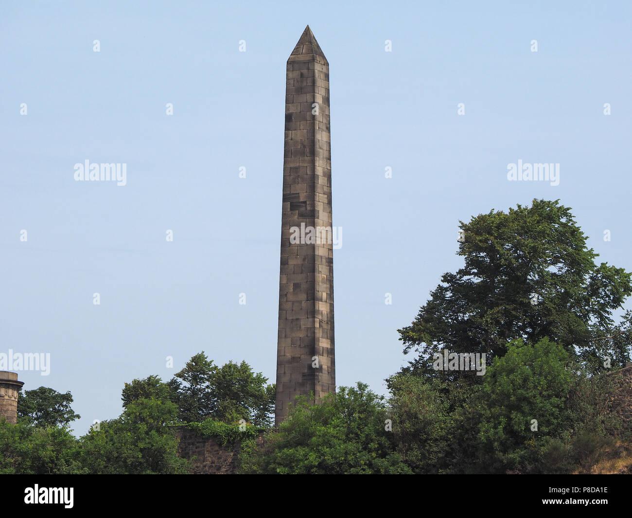 EDINBURGH, UK - CIRCA JUNE 2018: Political Martyrs Monument in the Old Calton burial ground on Calton Hill Stock Photo