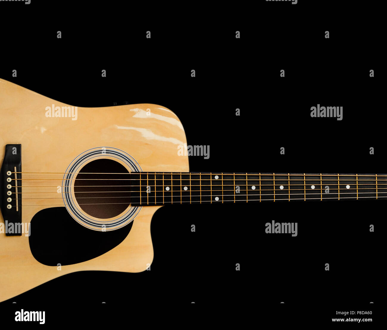 Electro Acoustic Guitar Isolated On Black Background Stock Photo