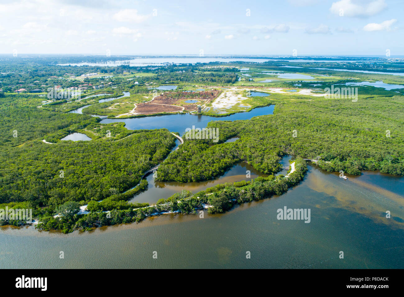 Robinson Preserve Bradenton, A 487-acre mosaic of mud flats, mangrove swamps,  beaches and observation tower along with many hiking and biking trails  - Stock Image