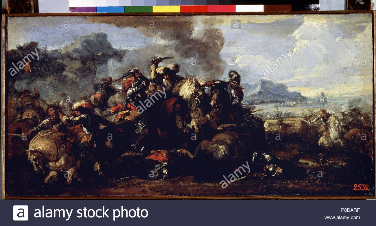 Combat between French and Spanish cavalries. Museum: State Hermitage, St. Petersburg. - Stock Image