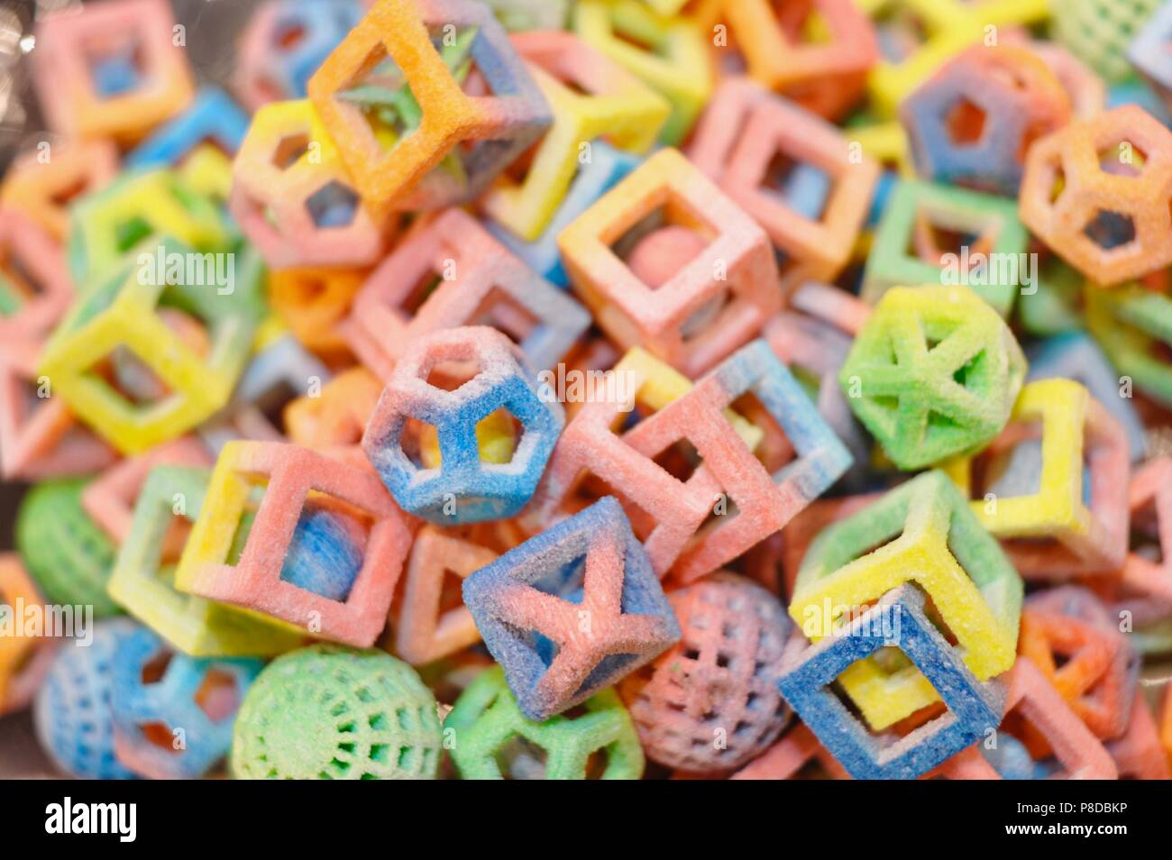Culinary 3-D printing of various sugar shapes from 3D Systems' ChefJet 3D Printer on display at National Restaurant Show, Chicago, Illinois, USA. - Stock Image