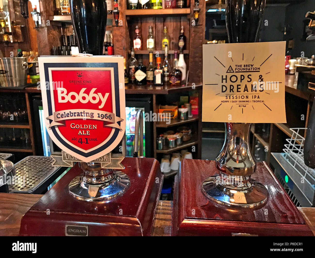 Bobby 1966 Golden Ale and Hops & dreams Session IPA on a bar at Mayflower Bar, Austerfield, Doncaster, South Yorkshire, England, UK Stock Photo