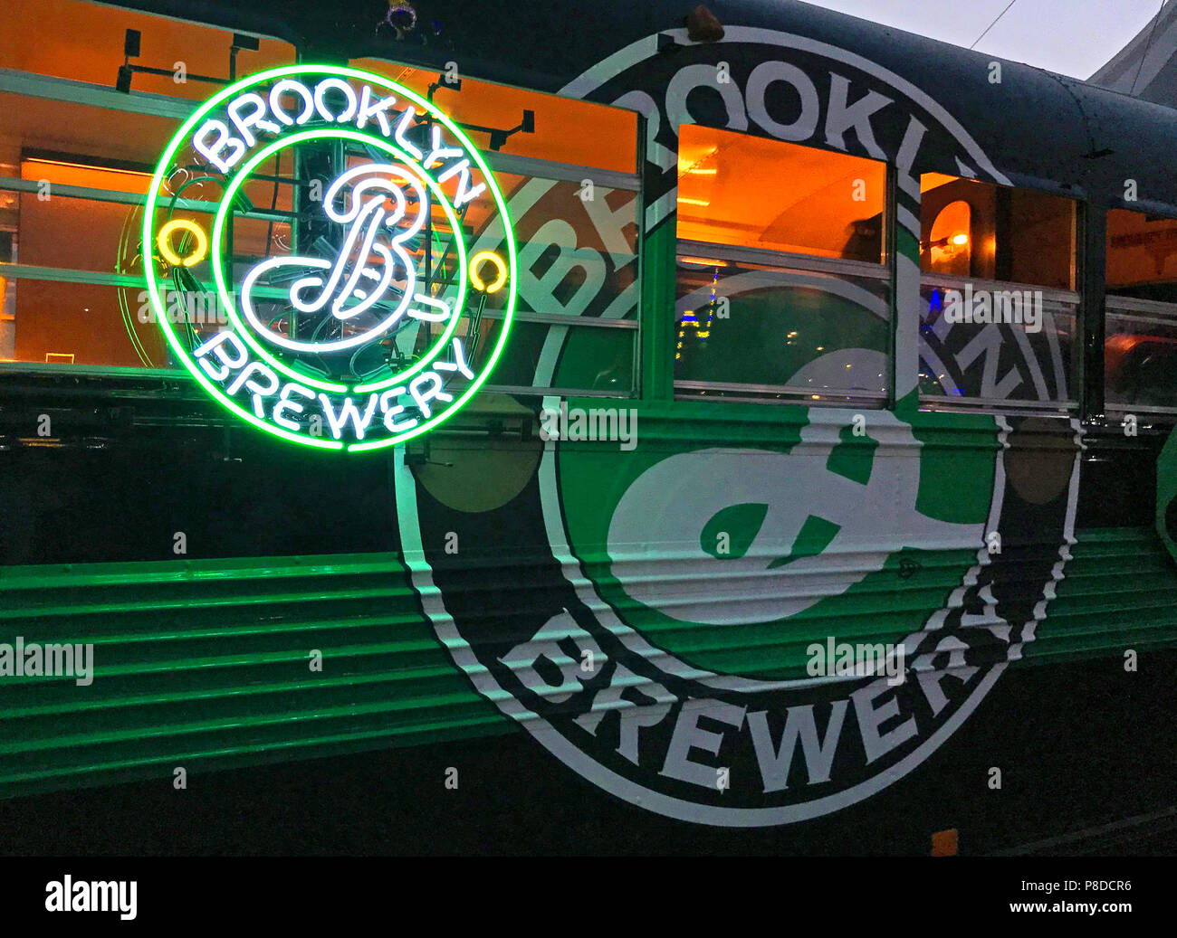 Brooklyn Brewery bus and neon sign, craft beer, Microbrewery, 79 N 11th St, Brooklyn, New York, NY, 11249, USA Stock Photo