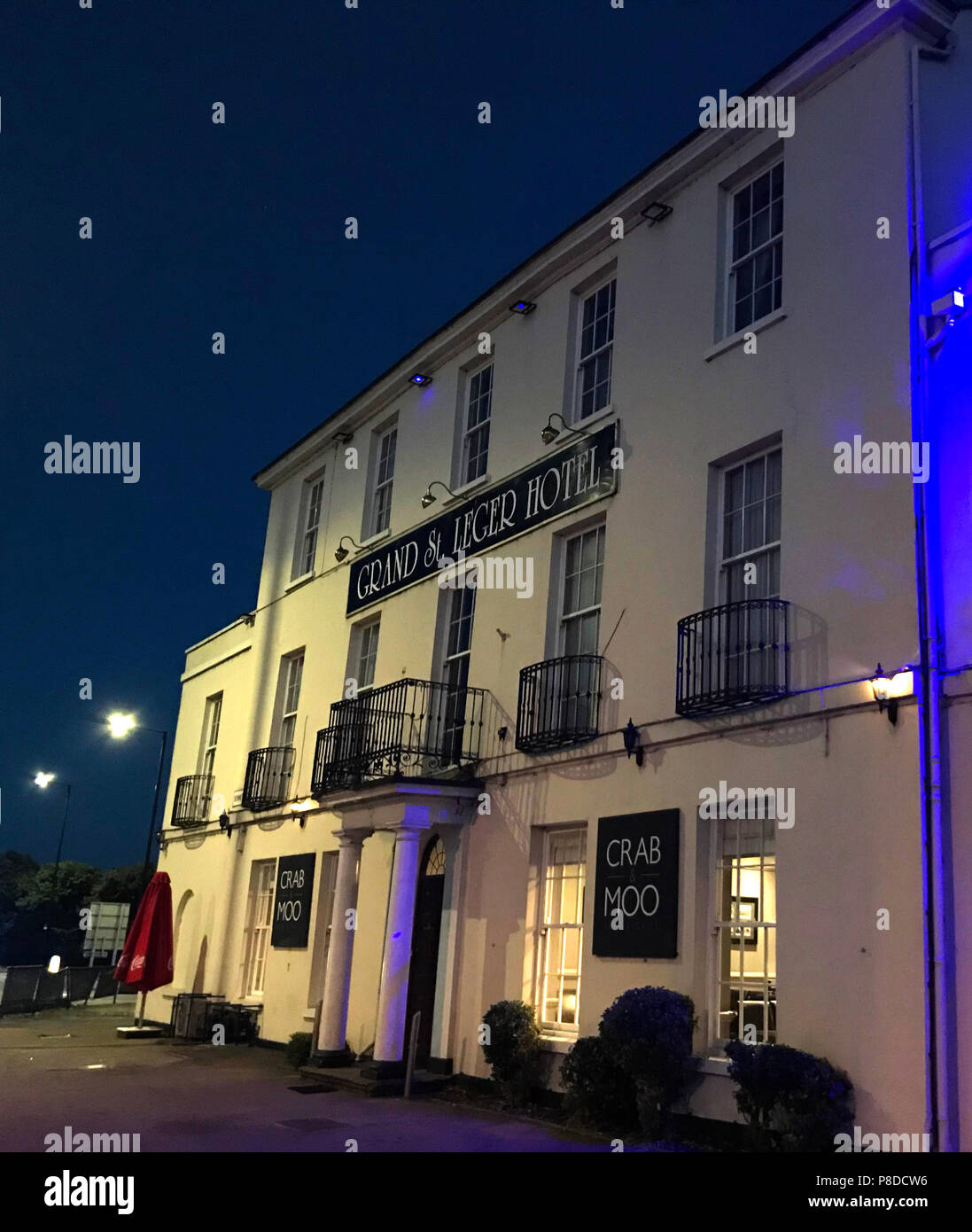 Grand St Leger Hotel at dusk, racecourse hotel, Bennetthorpe, Doncaster, South Yorkshire, England, UK,  DN2 6AX - Stock Image