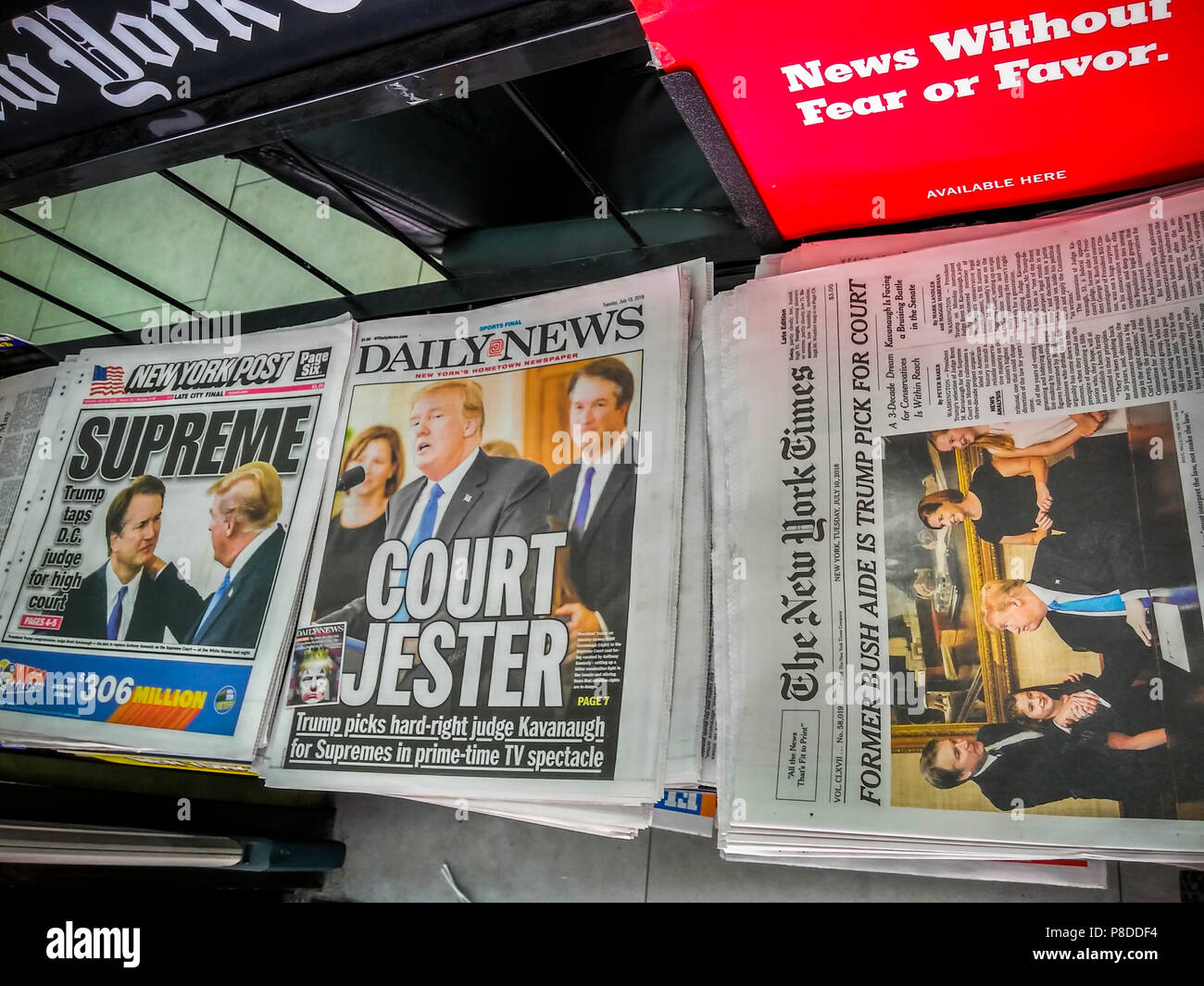 Headlines of New York newspapers on Tuesday, July 10, 2018 report on U.S. President Donal Trump's appointment, pending confirmation, of Brett Kavanaugh to the seat on the U.S. Supreme Court being vacated by the retirement of Justice Anthony Kennedy. (© Richard B. Levine) - Stock Image