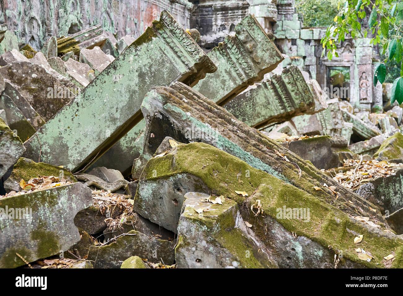 Collapsed columns at Angkor Thom - Stock Image