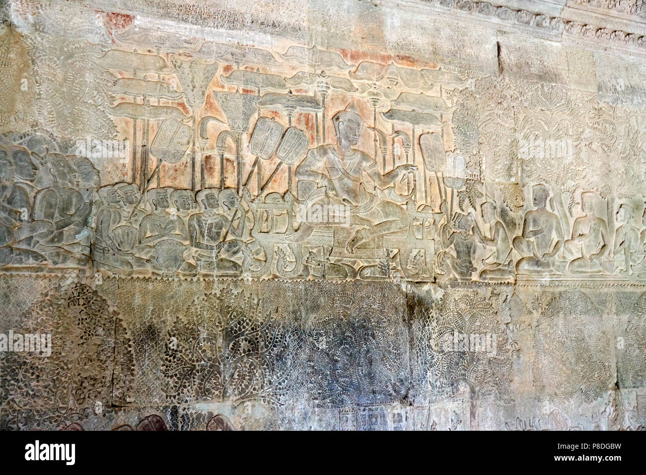 Detail of bas-relief at Angkor Wat, Siem Reap, Cambodia - Stock Image