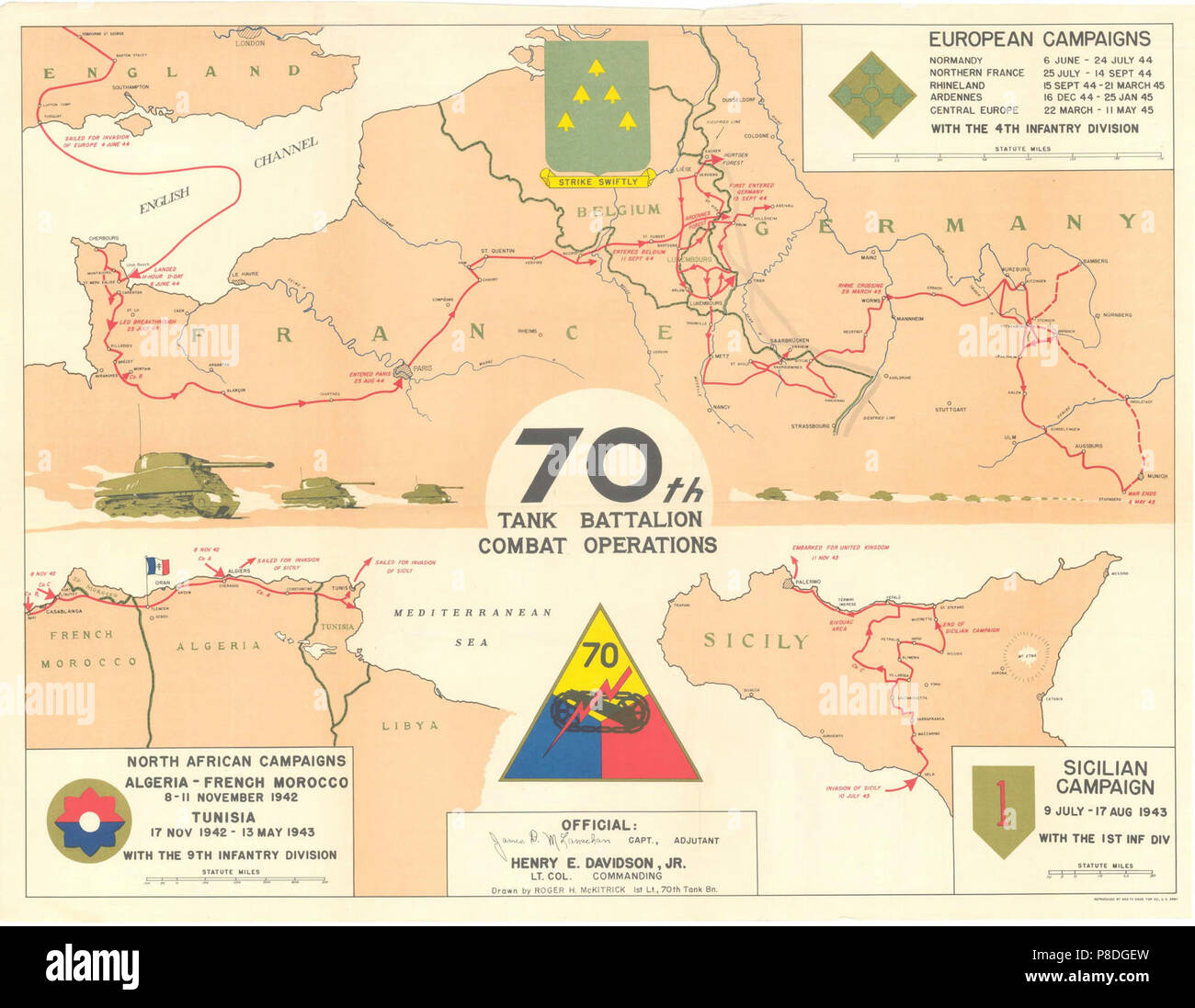 70th Tank Battalion Combat Operations Campaign Map For North Africa