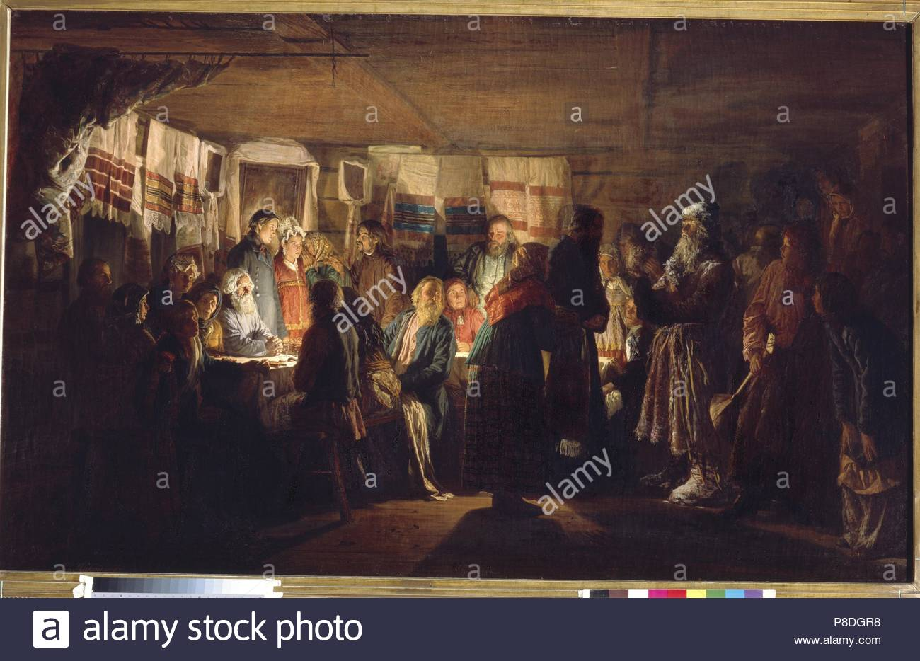 A Sorcerer comes to a peasant wedding. Museum: State Tretyakov Gallery, Moscow. - Stock Image