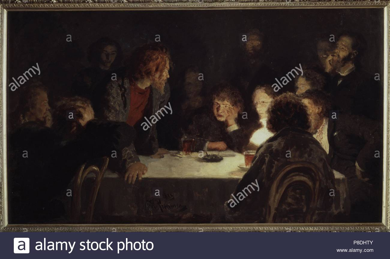 A Revolutionary Meeting. Museum: State Tretyakov Gallery, Moscow. - Stock Image