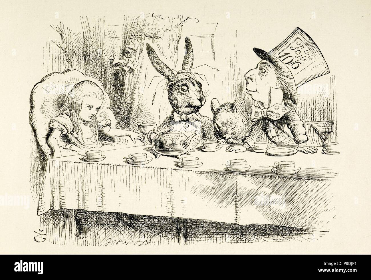 Illustration to the book 'Alice's Adventures in Wonderland' by Lewis Carroll. Museum: Russian State Library, Moscow. - Stock Image