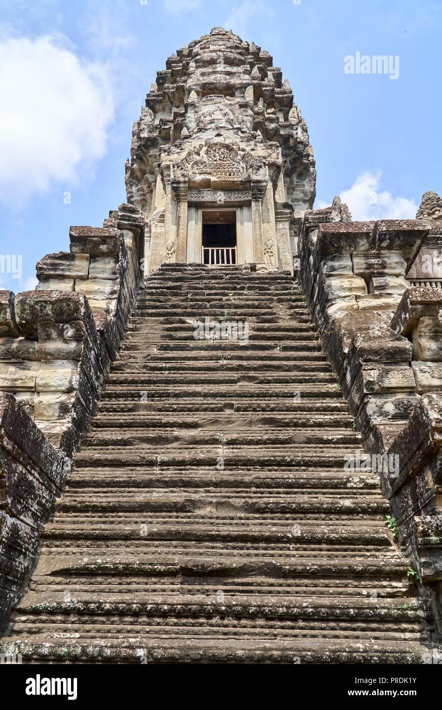 Steps to tower at Angkor Wat, Siem Reap, Cambodia - Stock Image