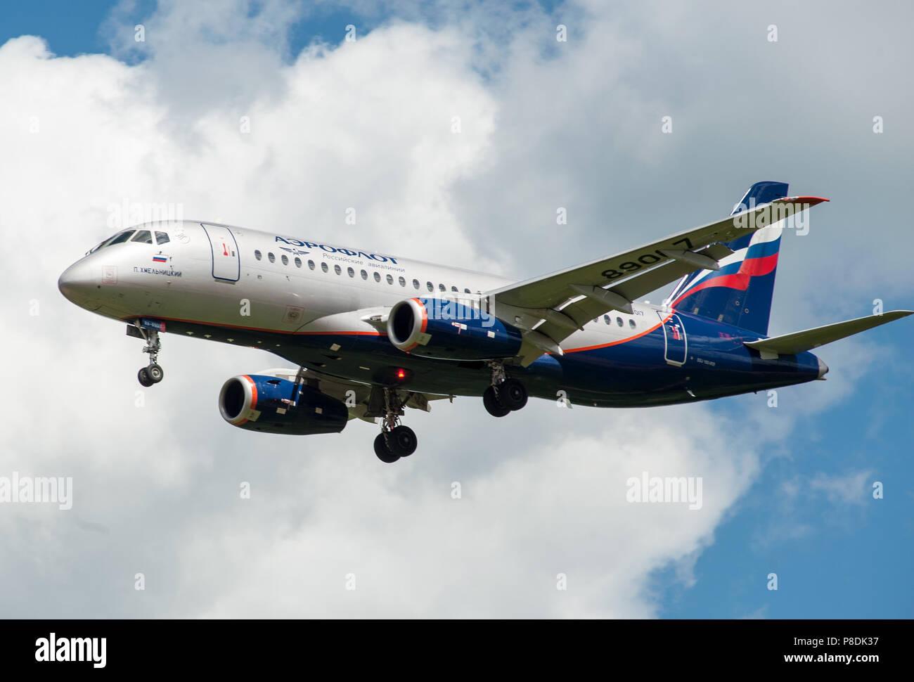 SHEREMETYEVO, MOSCOW REGION, RUSSIA - June 28, 2017: Sukhoi