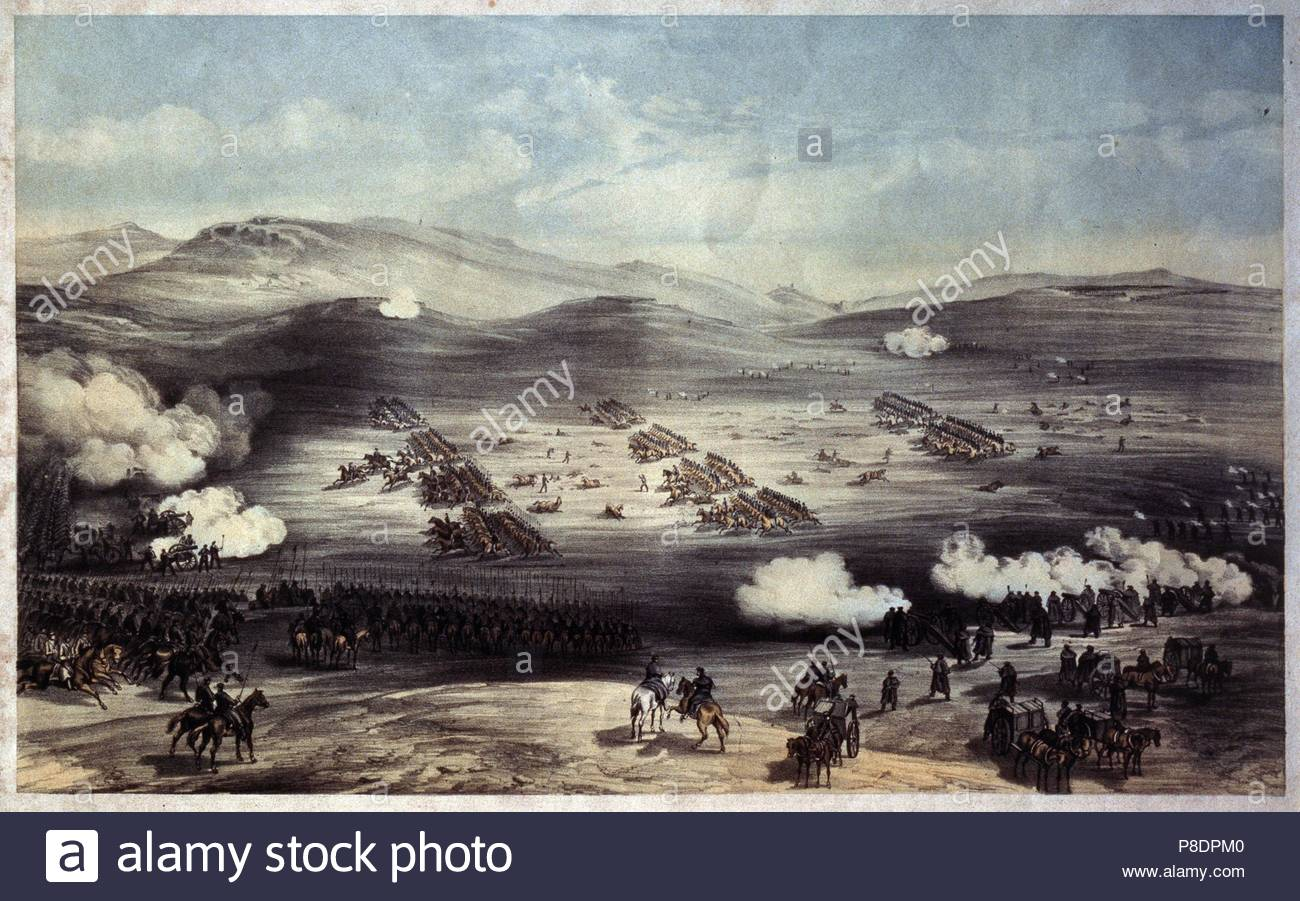 The Battle of Balaclava on October 25, 1854. The Charge of the Light Brigade. Museum: State Museum of the Defence of Sevastopol 1854-1855, Sevastopol. - Stock Image