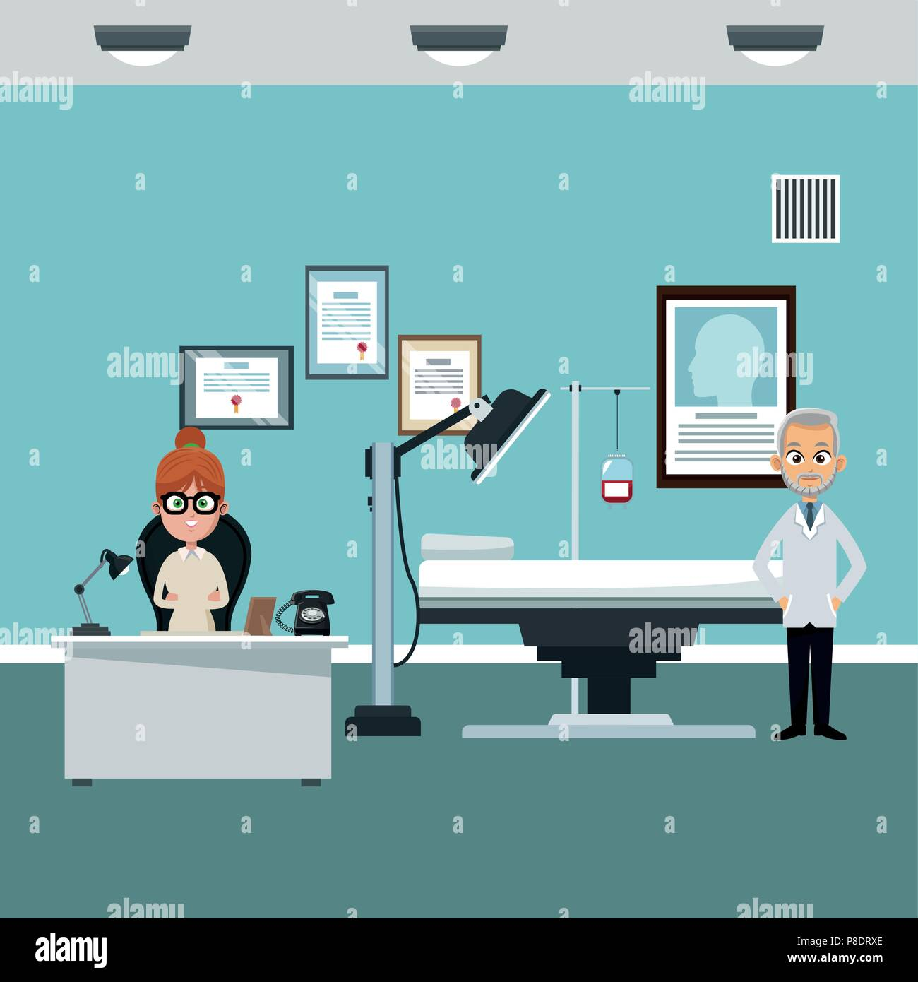 Doctors Office Cartoon Stock Vector Art Illustration Vector Image