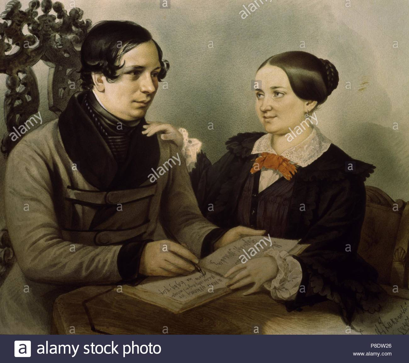 Portrait of the author Nestor Kukolnik (1809-1868) with his wife. Museum: State Russian Museum, St. Petersburg. - Stock Image