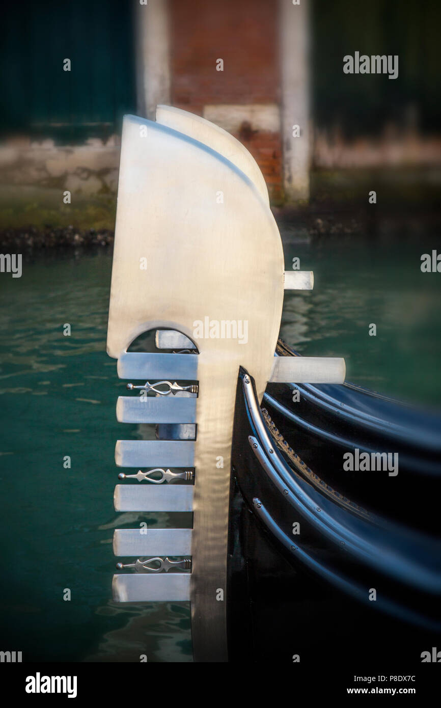 Close-up of a gondola in Venice, Italy - Stock Image