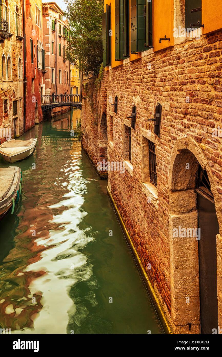 A quiet residential canal in Venice, Italy - Stock Image