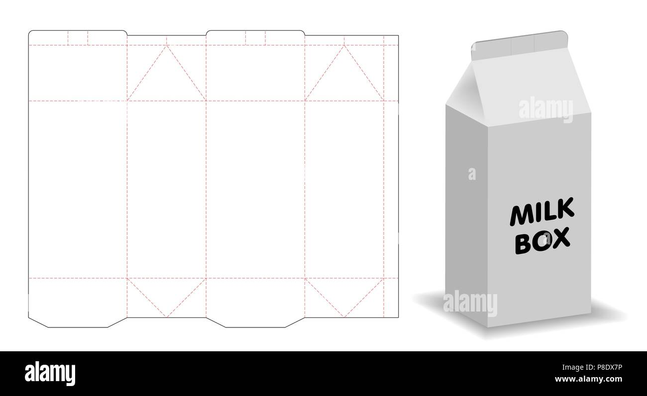 Milk Box Template 3d Mockup With Dieline Stock Vector Art