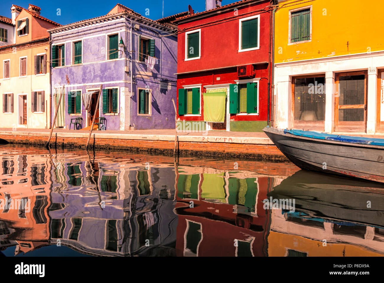 Colorful Burano, one of the Venetial islands - Stock Image