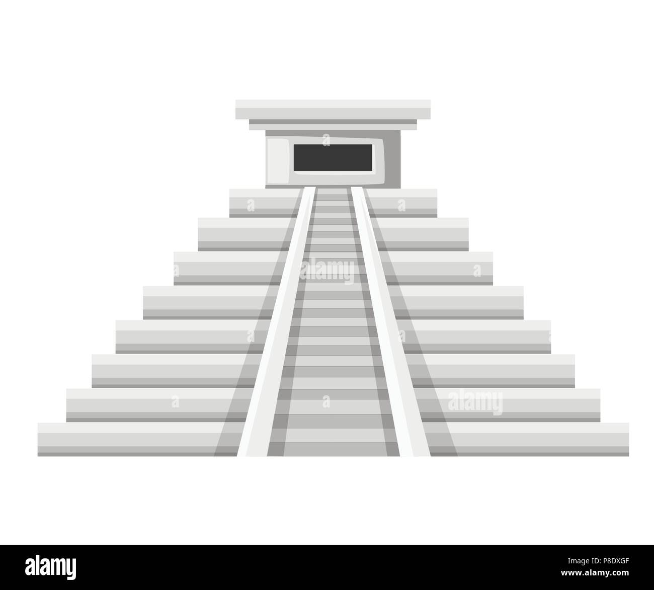 Aztec pyramid icon. Flat vector illustration. Old stone temple.Mexican and Maya culture. Illustration isolated on white background. - Stock Image