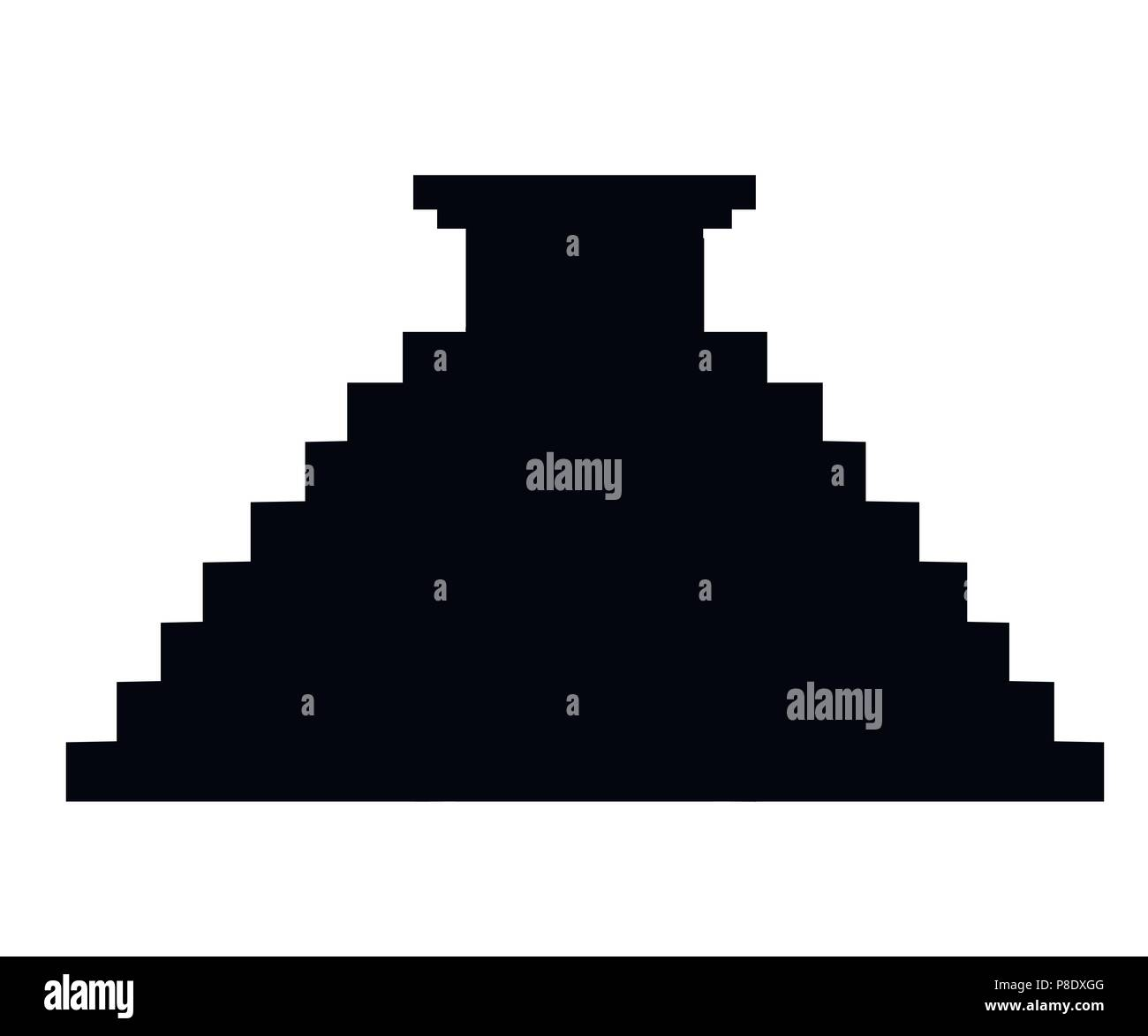 Black silhouette. Aztec pyramid icon. Flat vector illustration. Old stone temple.Mexican and Maya culture. Illustration isolated on white background. - Stock Image