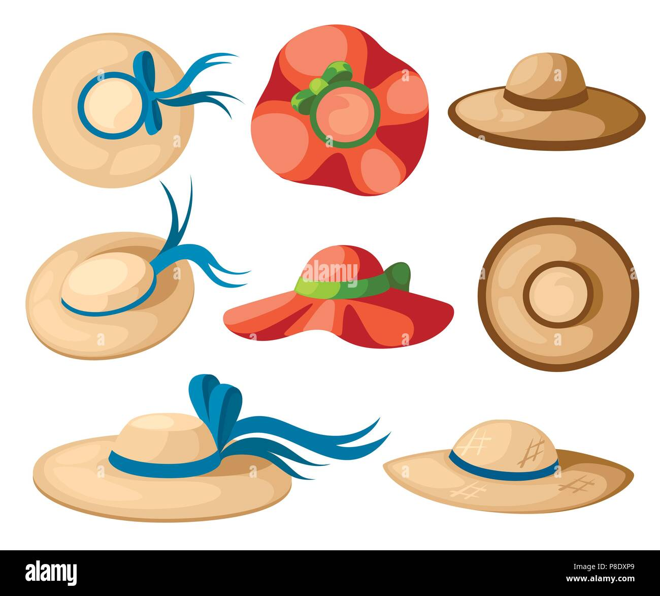 48bd08b2feff5 Women summer hat set. Colorful summer collection icon. Flat vector  illustration isolated on white background.