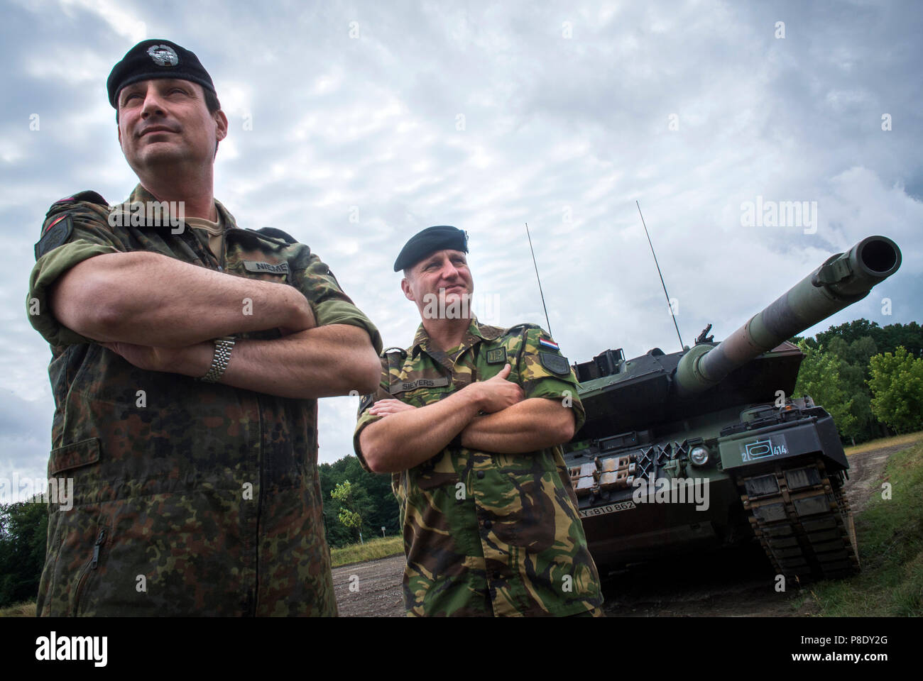 German Lieutenant-Colonel Marco Niemeyer of the Bundeswehr with his second in command  Major Chris Sievers of the Royal Netherlands Army the Landmacht - Stock Image