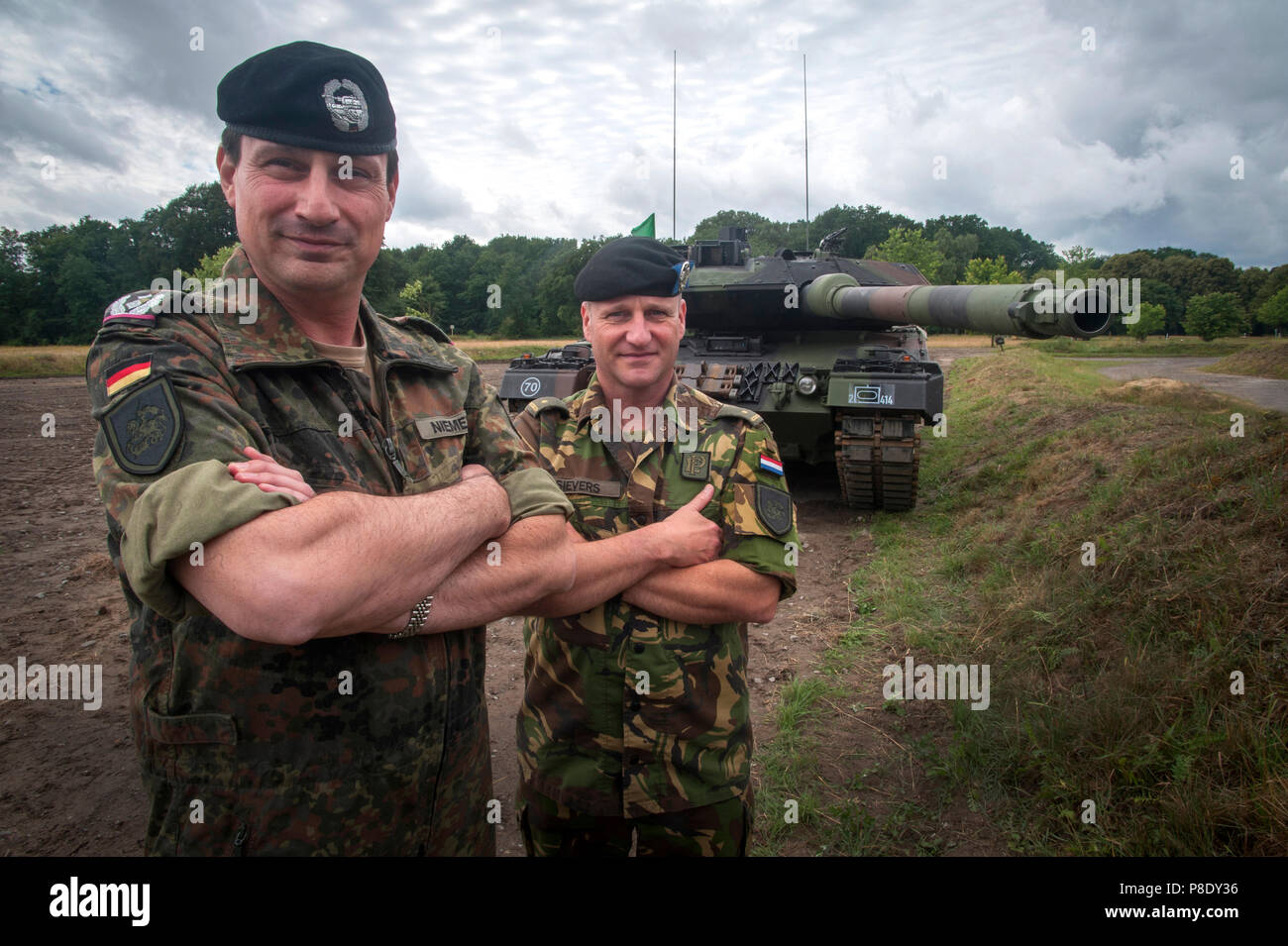 German Lieutenant-Colonel Marco Niemeyer of the Bundeswehr with his second in command  Major Chris Sievers of the Royal Netherlands Army the Landmacht. - Stock Image