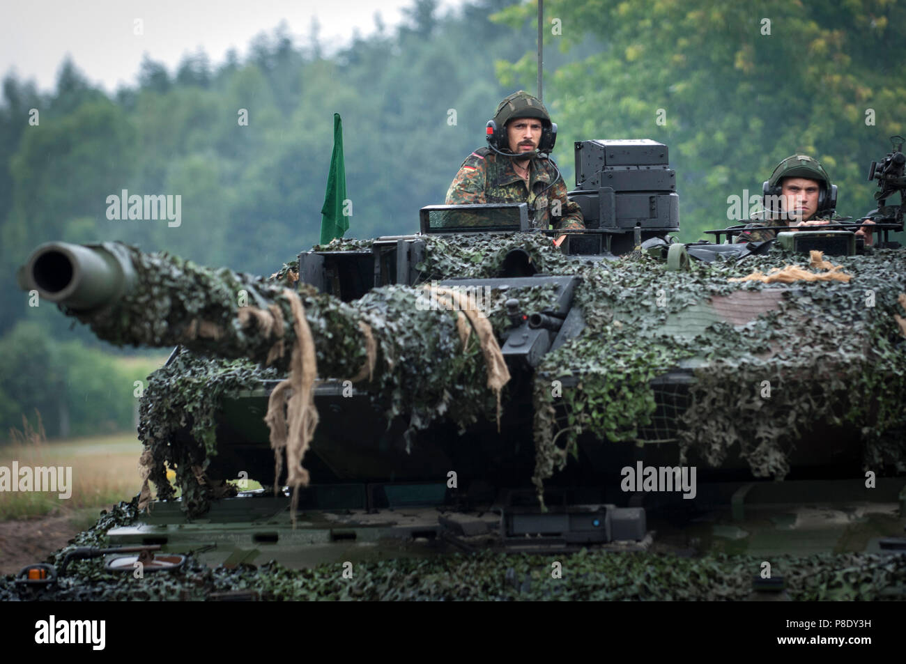Tank Battalion 414 on the move at their firing ground near Bergen, - Stock Image