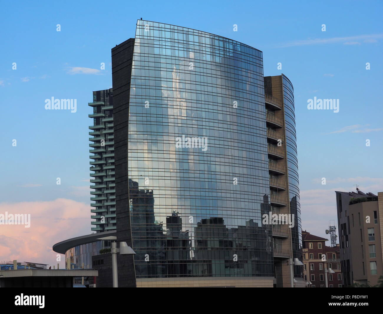 MILAN, ITALY-MAY 12, 2018: Maire Tecnimont skyscraper tower in Porta Garibaldi area, Milan, Lombardy. - Stock Photo