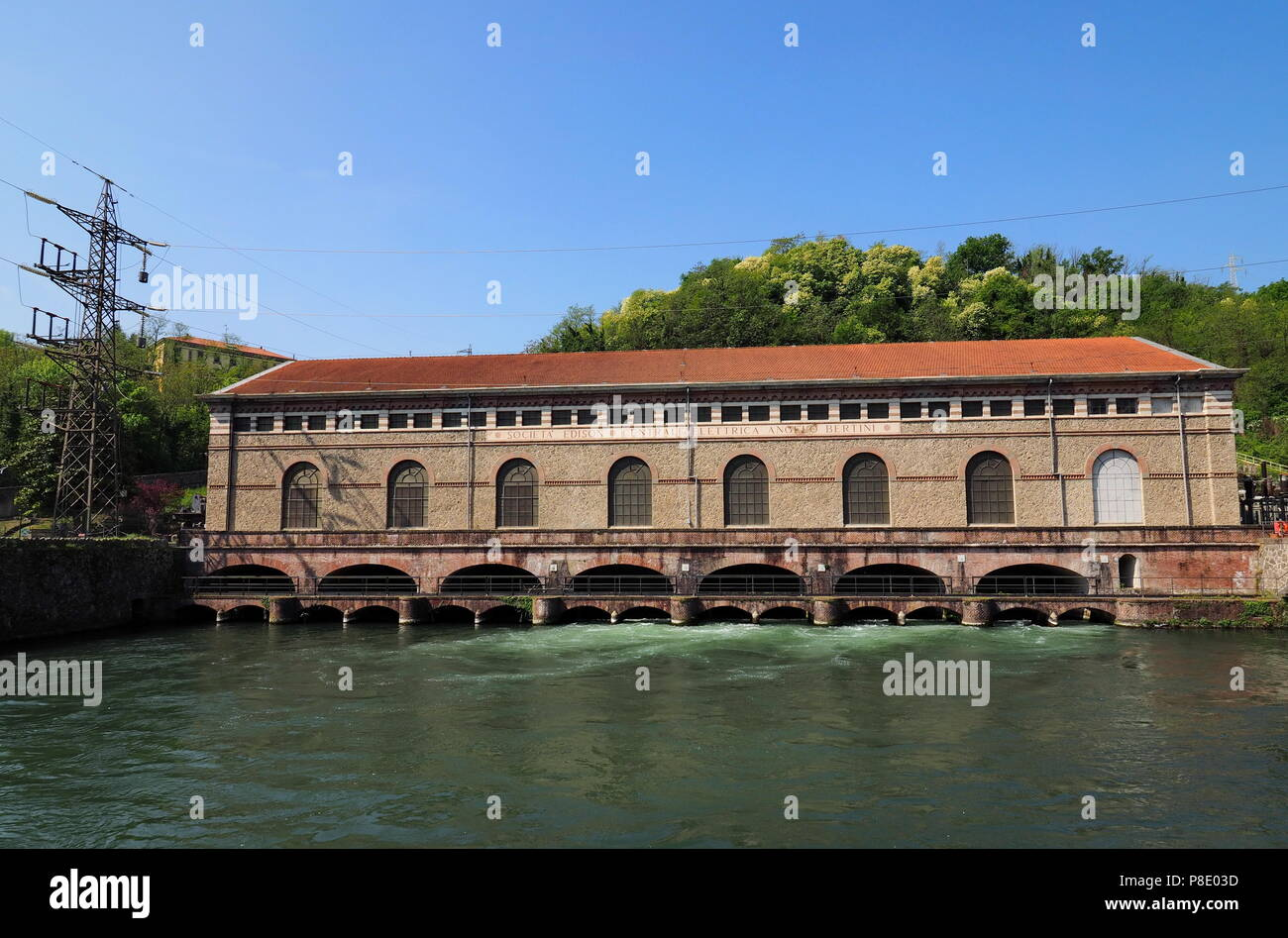 """The old and historic hydroelectric power plant """" Angelo Bertini"""", of 1906, on the river Adda Stock Photo"""