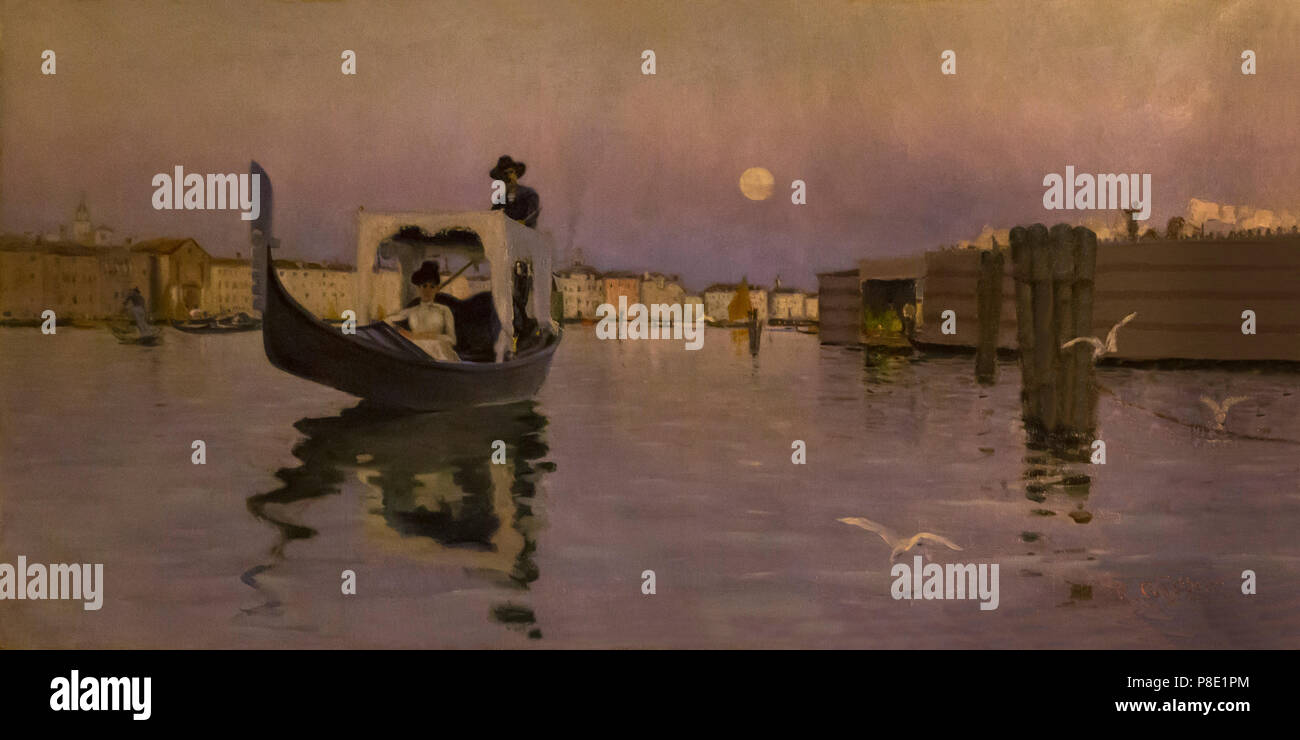 Return from the Lido, Ralph Curtis, 1884, Isabella Stewart Gardner Museum, Boston, Mass, Massachusetts, North America, US, USA - Stock Image