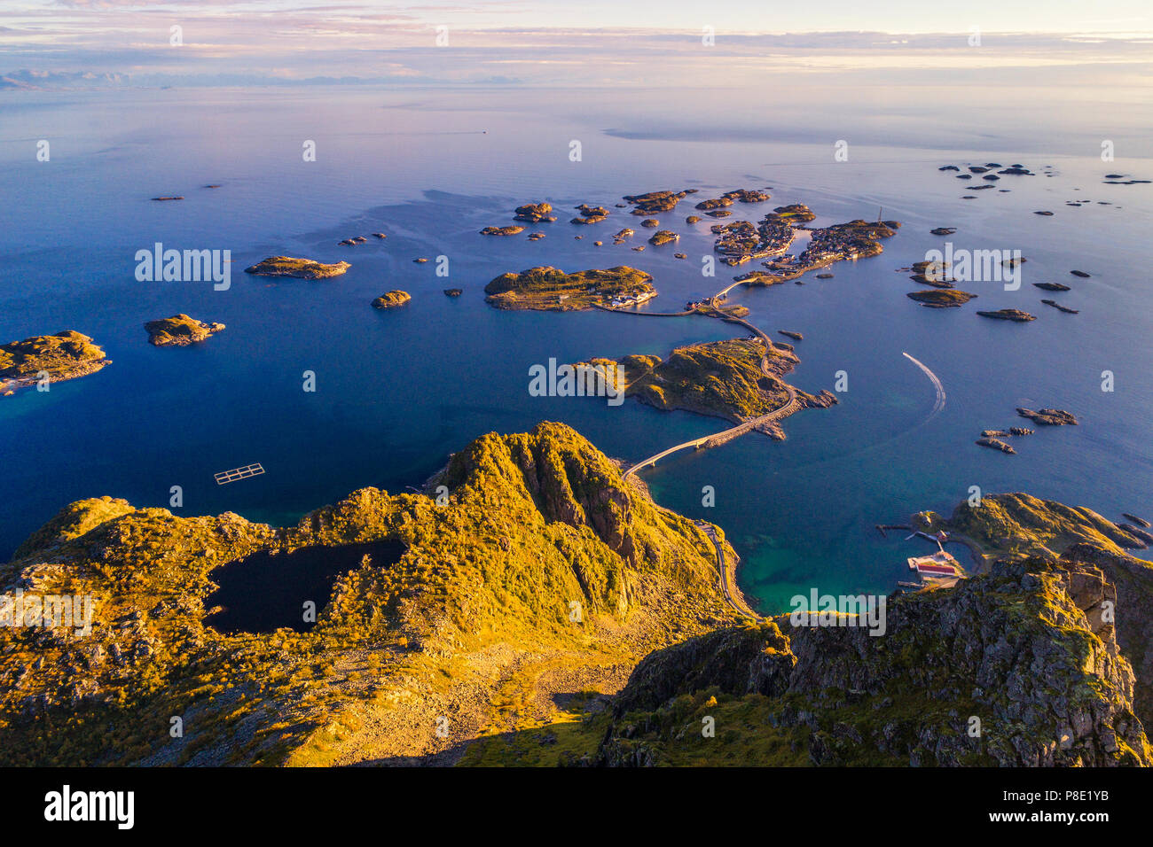 Top of mount Festvagtinden on Lofoten islands in Norway Stock Photo