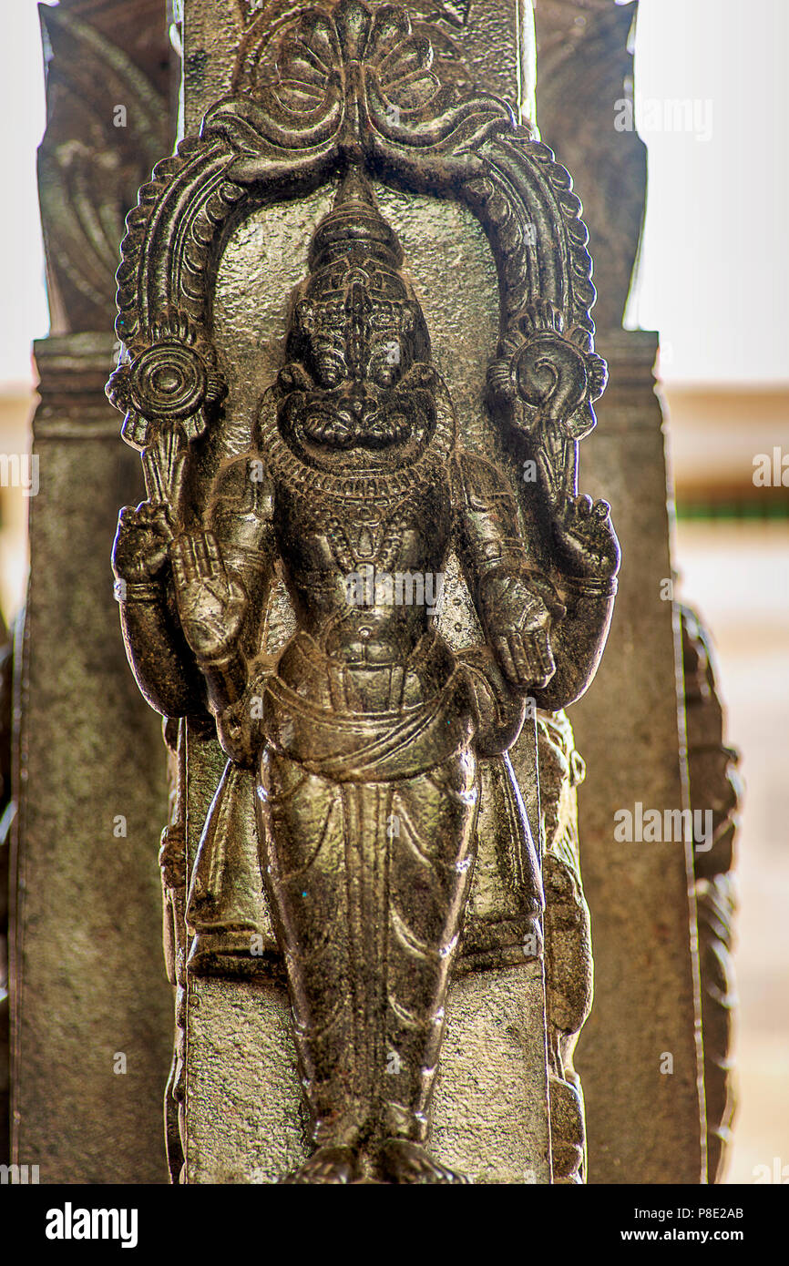 Sculpture from ancient hindu temple in Mayiladuthurai, Tamilnadu, India. These sculptures depict mythological stories and events, specifically Ramayan - Stock Image