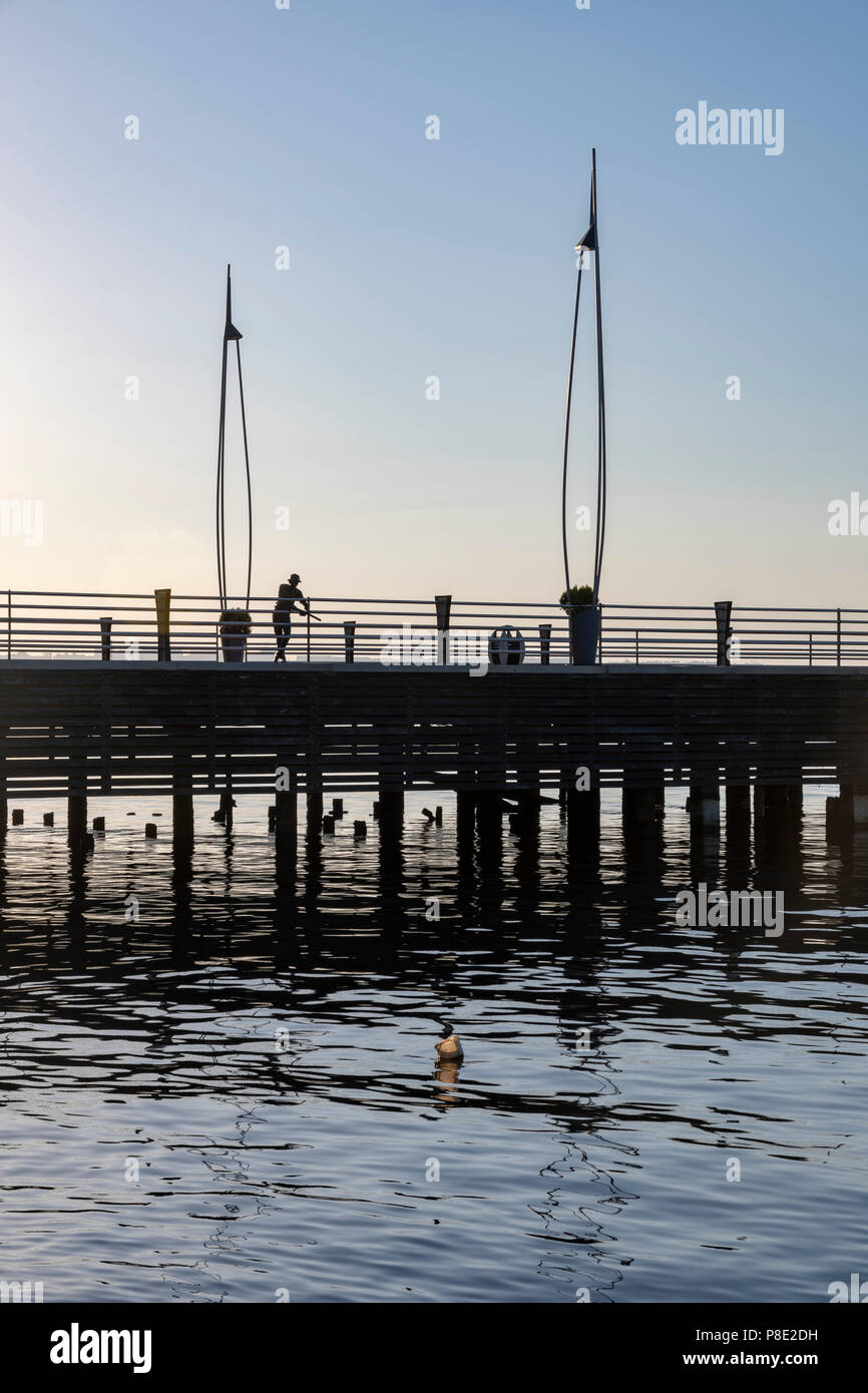 Pier on the seafront  at sunrise in Baku - Stock Image