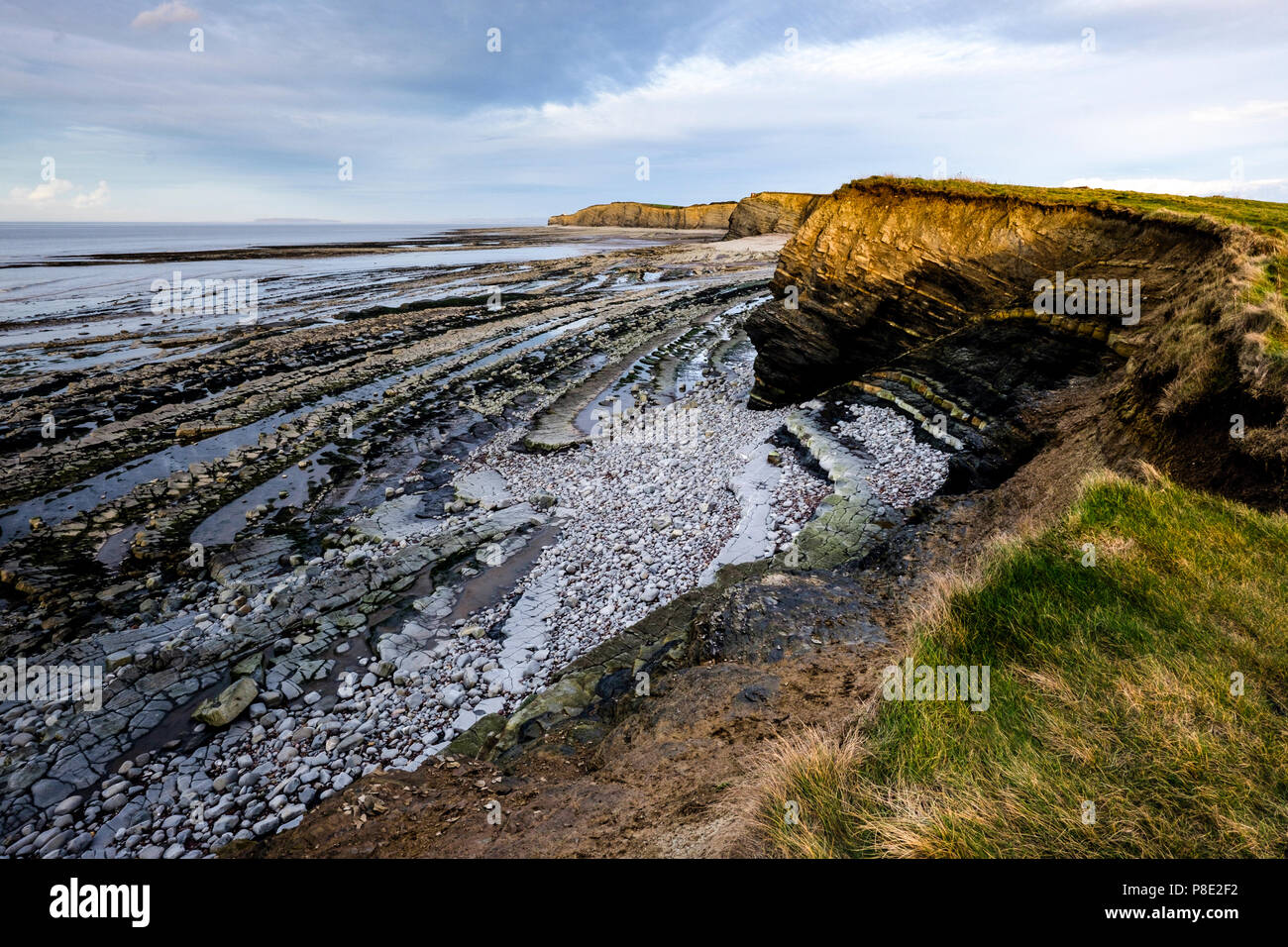 Early evening view of Kilve Beach, Somerset, Uk.  Often used by students of geology studying Blue Lias, black shale, marl, limestone and faults. - Stock Image