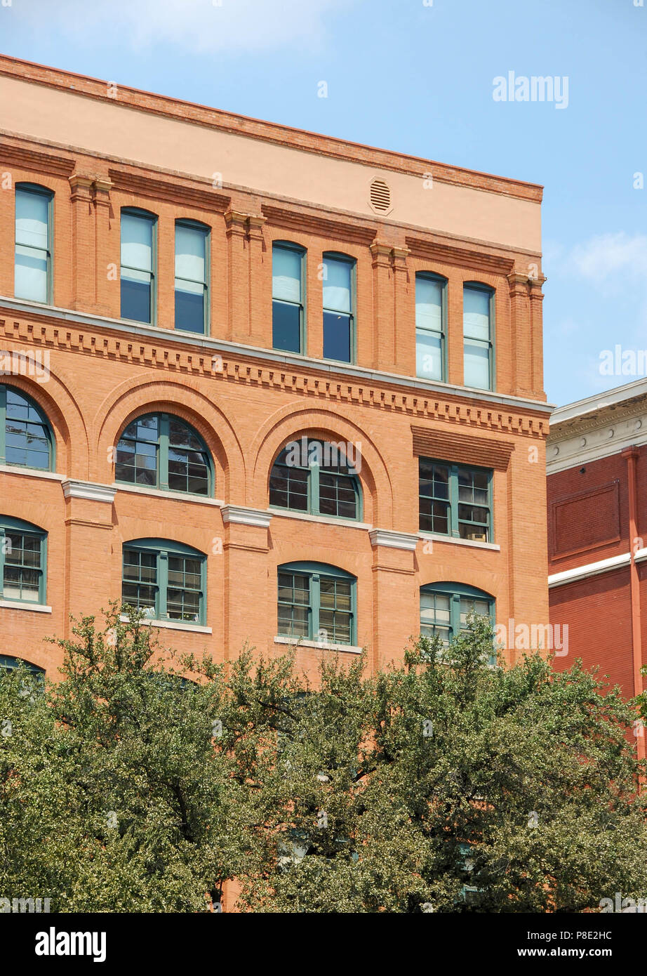Close up view of the Texas School Book Depository building