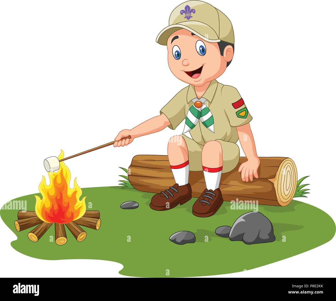 Cartoon scout roasting marshmallow - Stock Vector