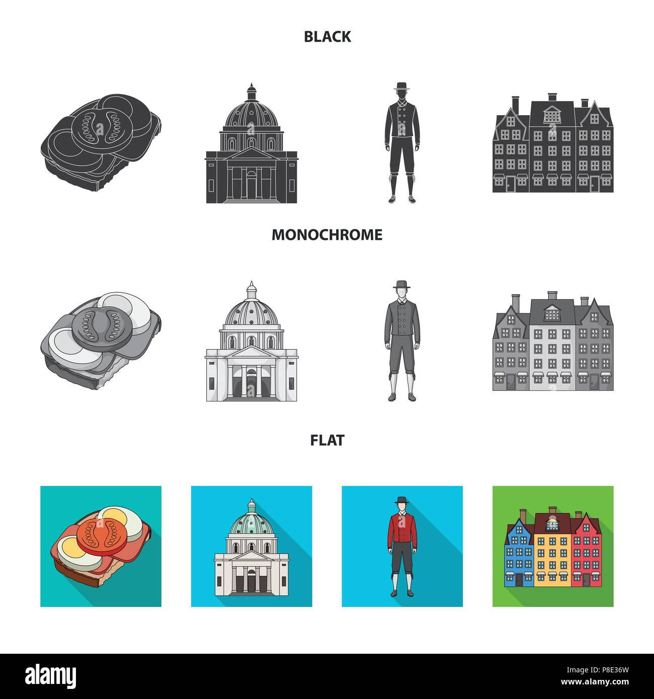 Denmark, history, restaurant, and other  icon in black, flat, monochrome style.Sandwich, food bread icons in set collection Stock Vector