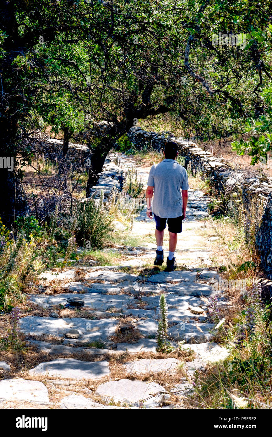 A well maintained footpath on the walking route 1 on the Greek island of Kea in the Cyclades, The island has a network of paths marked for walkers. Stock Photo