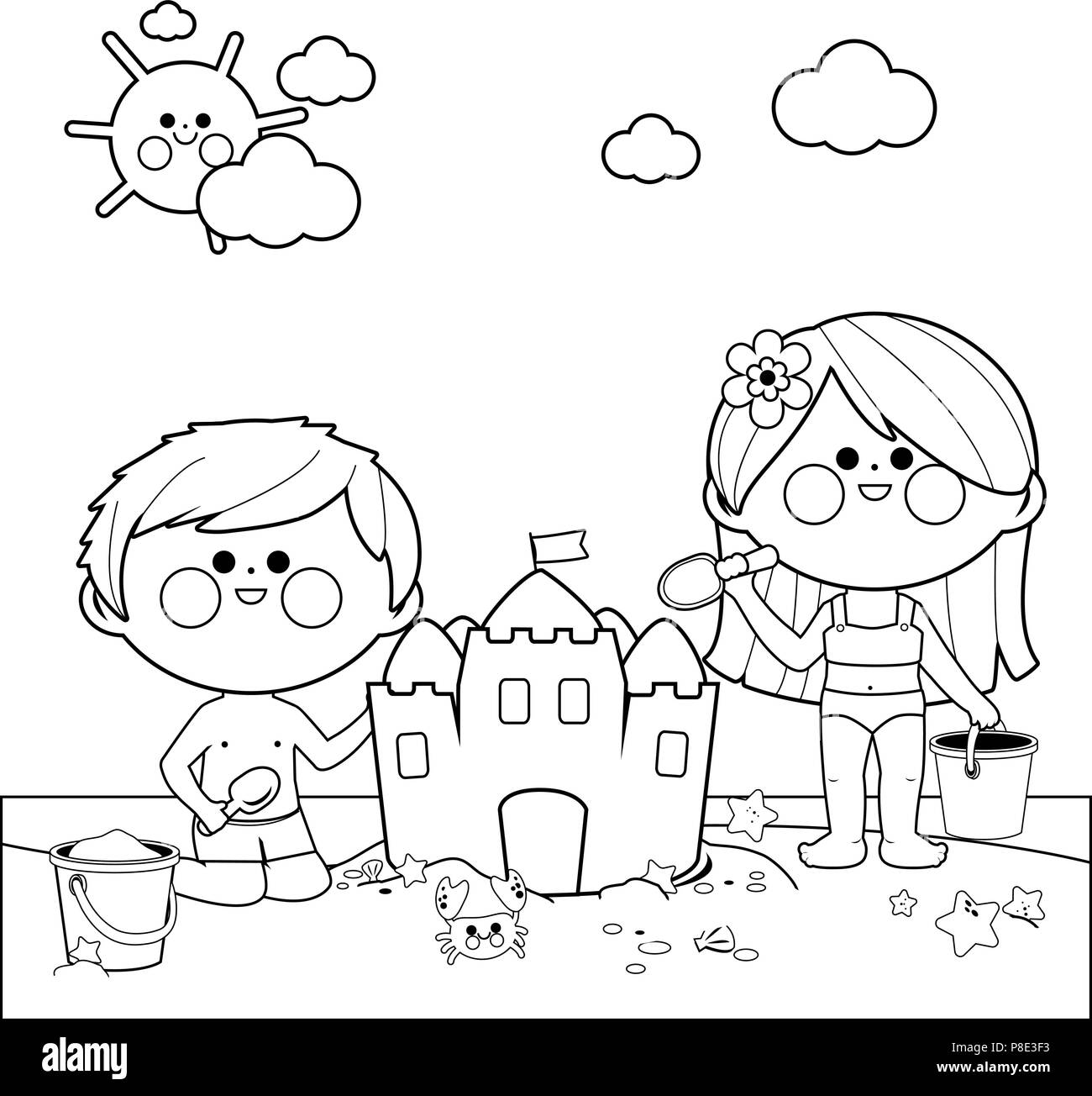 Children At The Beach Building A Sandcastle Black And White Coloring Book Page Stock Vector Image Art Alamy