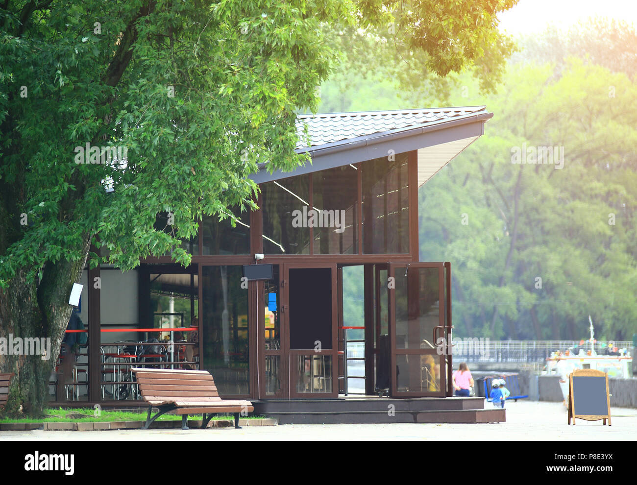 cozy cafe in the center of the city Park - Stock Image