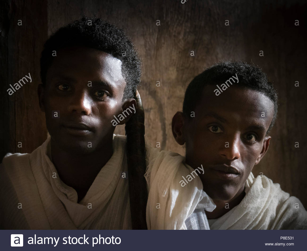 Young priest students at Ura Kidane Mehret Monastery, Ethiopia - Stock Image