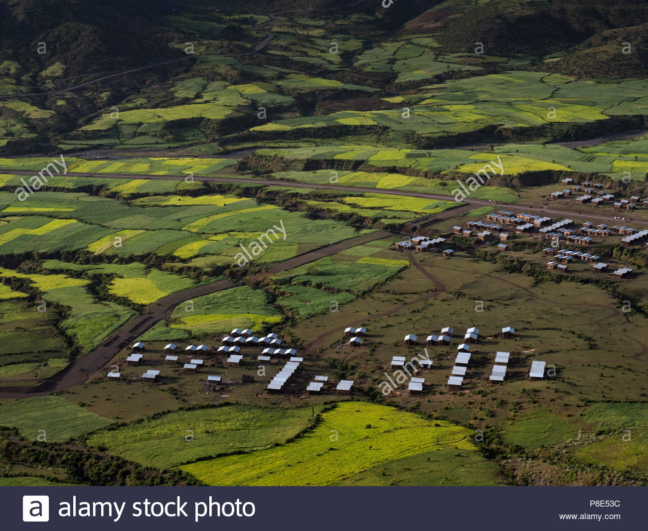 Cultivated fields in the valley, near Lalibela, Ethiopia - Stock Image