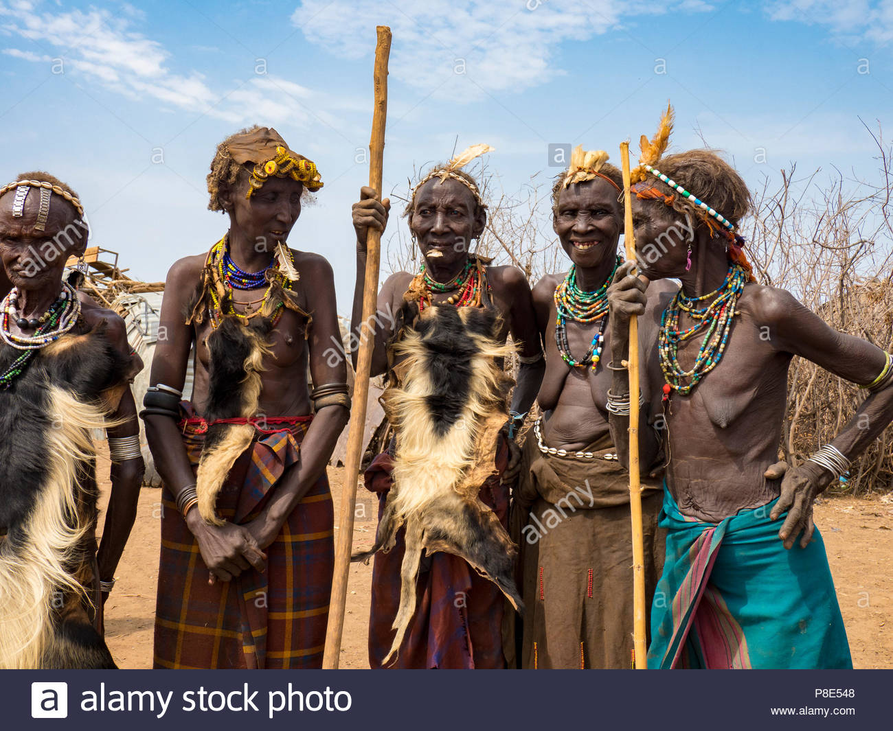 Old women in the village of the Daasanach, Ethiopia - Stock Image