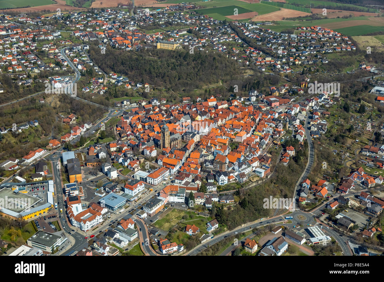 Aerial view, City view with old town, Bad Wildungen, North
