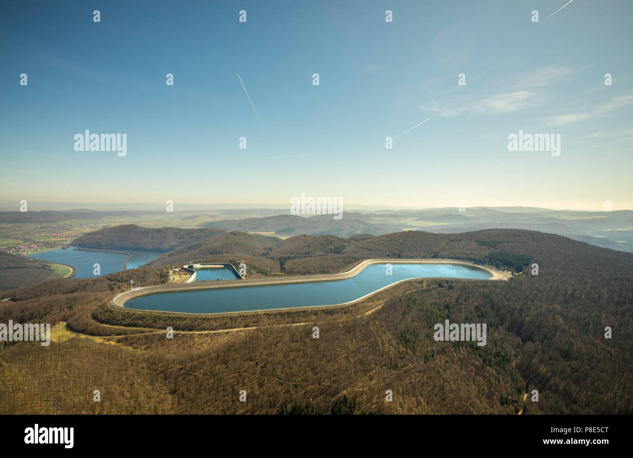 Aerial view, High storage reservoir with Waldeck pumped storage power station, water storage, Edertal, North Hesse, Hesse - Stock Image